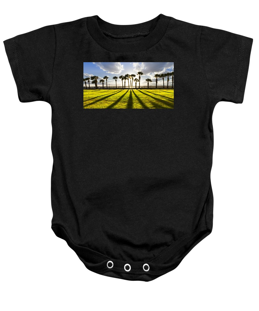 American Baby Onesie featuring the photograph Sunset Sentinels by Debra and Dave Vanderlaan
