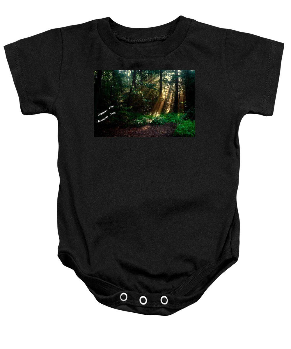 Sunbeams Radiating Through Trees Baby Onesie featuring the photograph Sunshine Days Greeting by Sally Weigand
