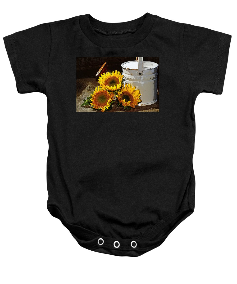 Sunflowers Baby Onesie featuring the photograph Sunshine From The Garden by Phyllis Denton