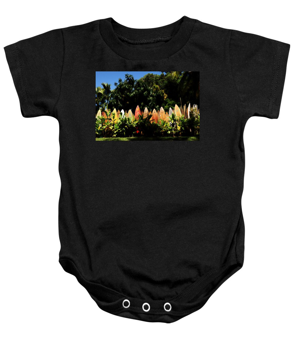Nature Baby Onesie featuring the photograph Surfboard Fence - Right Side by Paulette B Wright