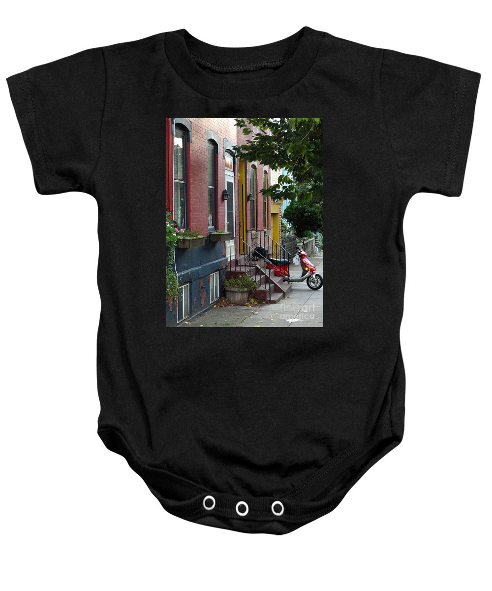 Motor Scooter Baby Onesie featuring the photograph Swain Street by Christopher Plummer