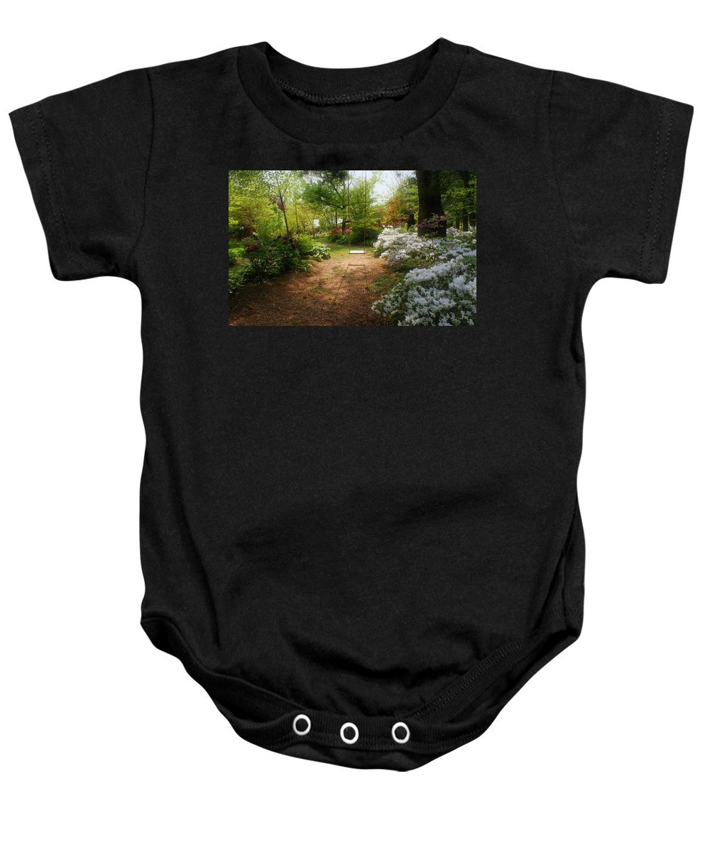 Swing Baby Onesie featuring the photograph Swing In The Garden by Sandy Keeton