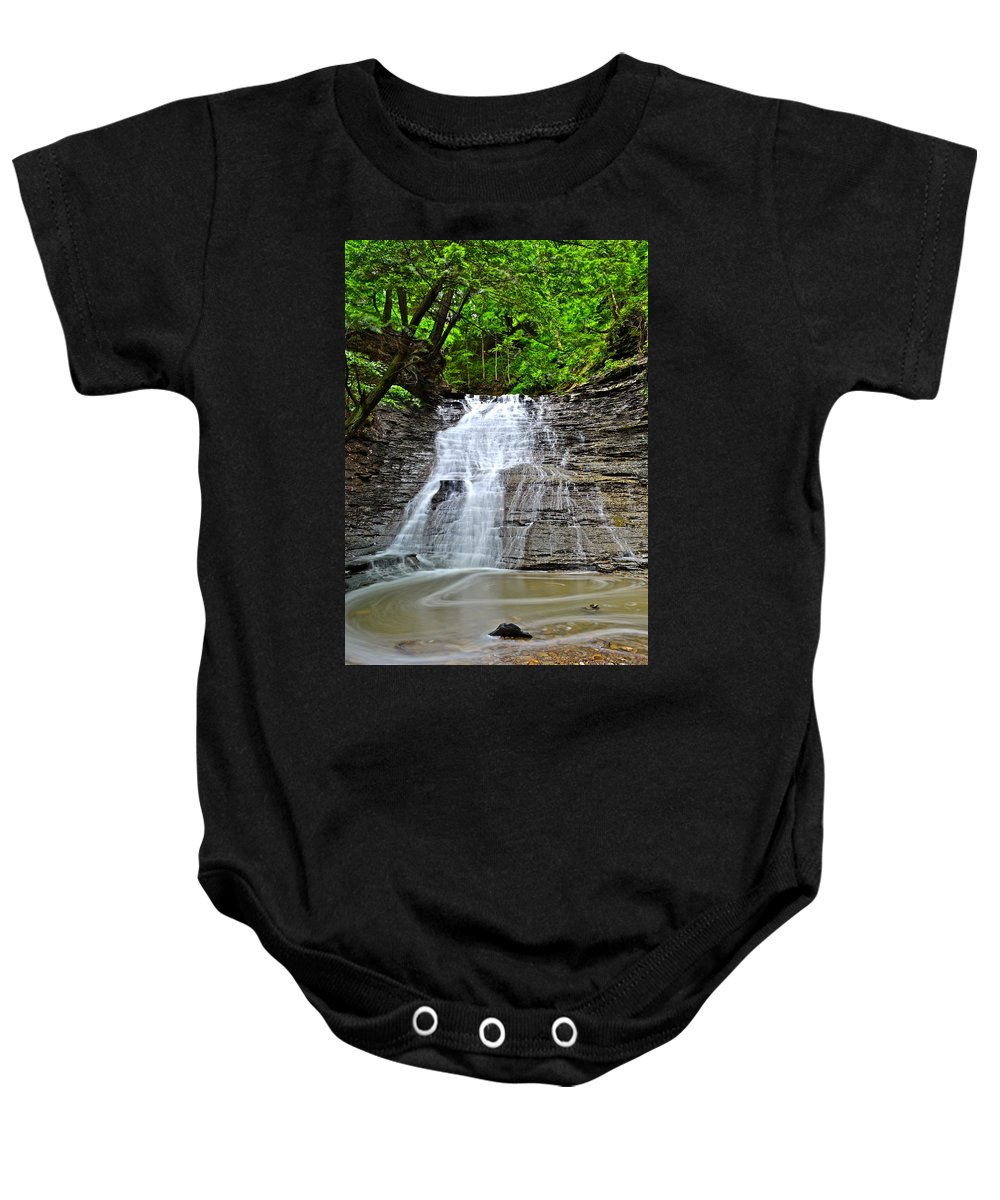 Waterfall Baby Onesie featuring the photograph Swirling Falls by Frozen in Time Fine Art Photography