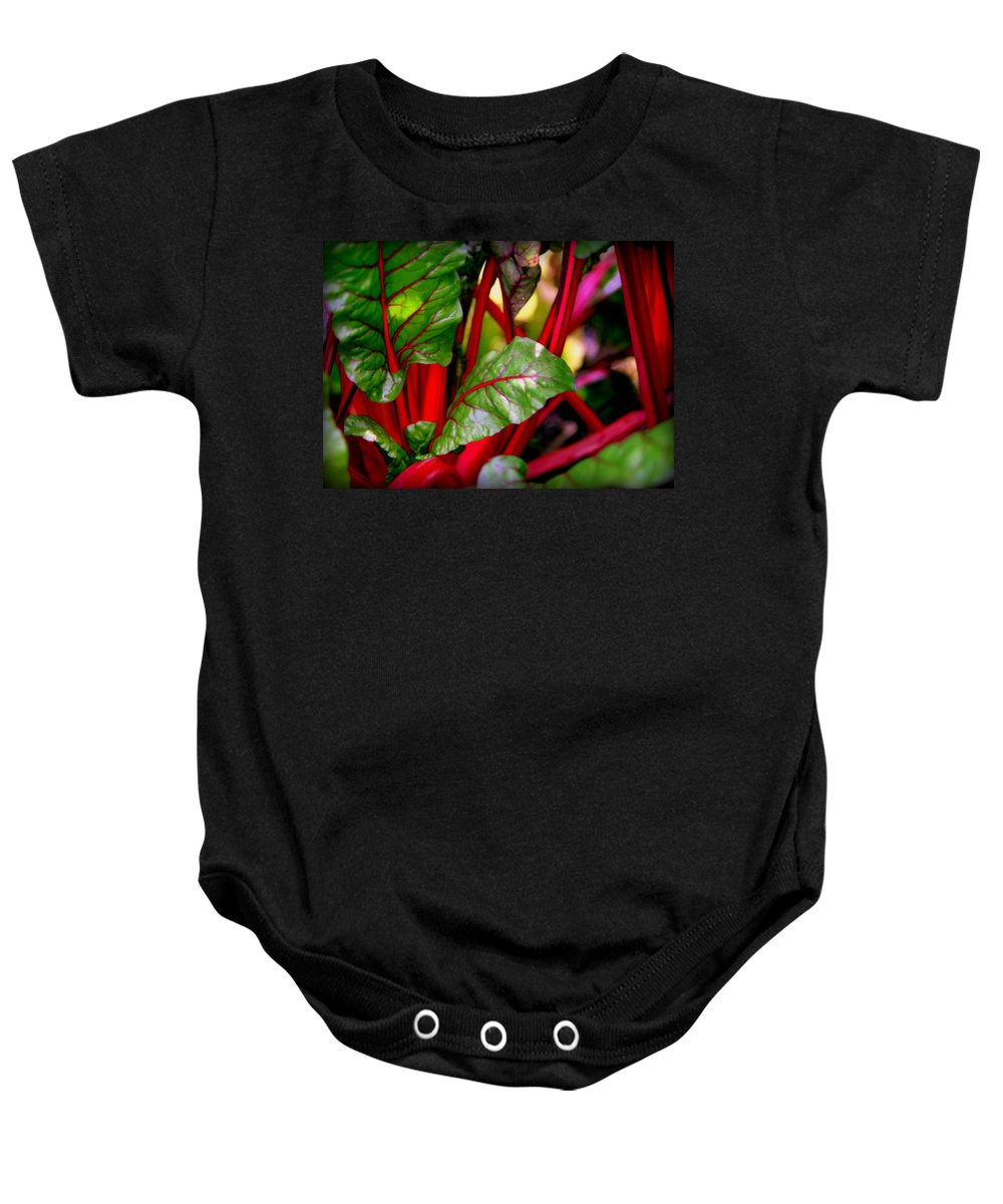 Kettuce Baby Onesie featuring the photograph Swiss Chard Forest by Karen Wiles