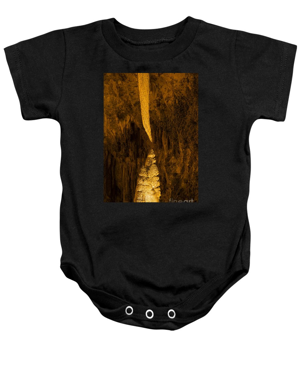 Sword Of Damocles Carlsbad Caverns National Park New Mexico Cave Caves Cavern Stalactite Stalactites Stalagmite Stalagmites Rock Formation Formations Parks Underground Landmark Landmarks Baby Onesie featuring the photograph Sword Of Damocles by Bob Phillips