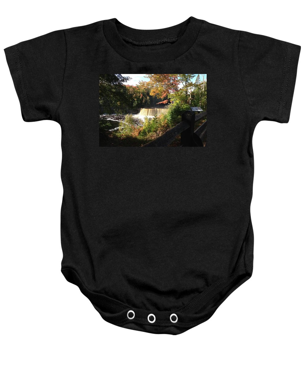 Tahquamenon Falls Baby Onesie featuring the photograph Tahquamenon Falls With My Iphone by Linda Kerkau