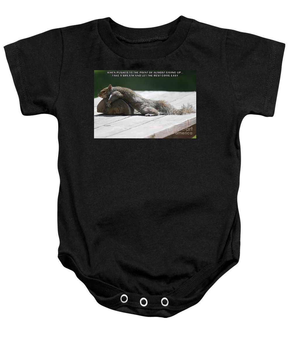 Animals Baby Onesie featuring the photograph Take A Breather With Caption by Jennifer E Doll