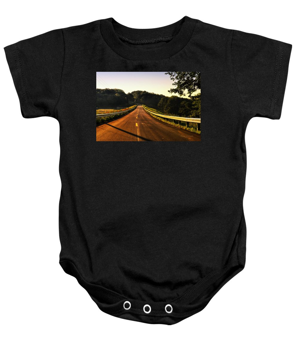 Road Baby Onesie featuring the photograph Take Me Home by Thomas Woolworth