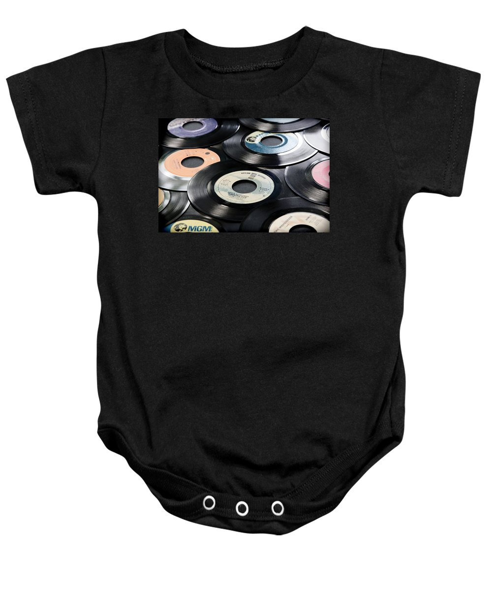 Records Baby Onesie featuring the photograph Take Those Old Records Off The Shelf by Athena Mckinzie