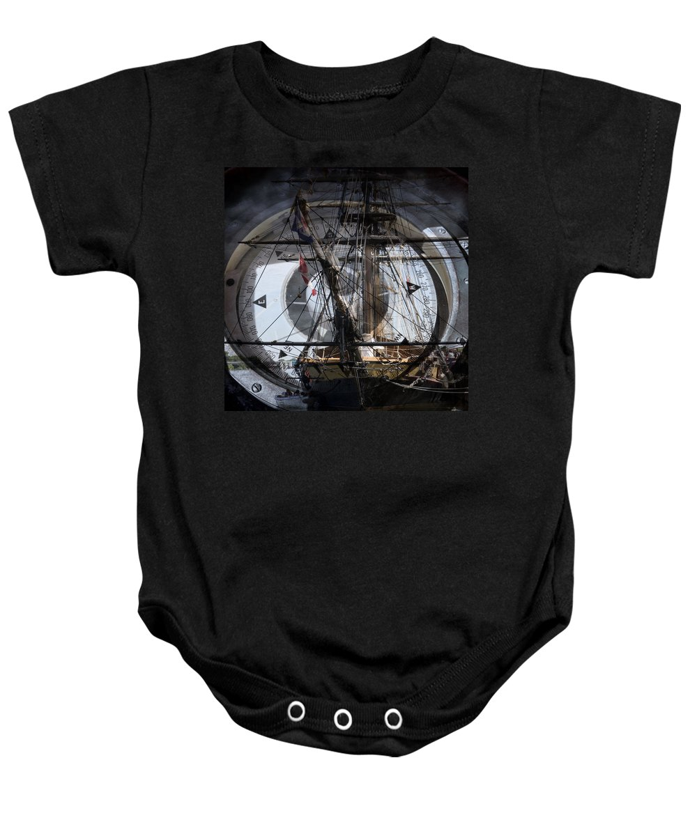 Evie Baby Onesie featuring the photograph Tall Ship With Compass 2013 by Evie Carrier