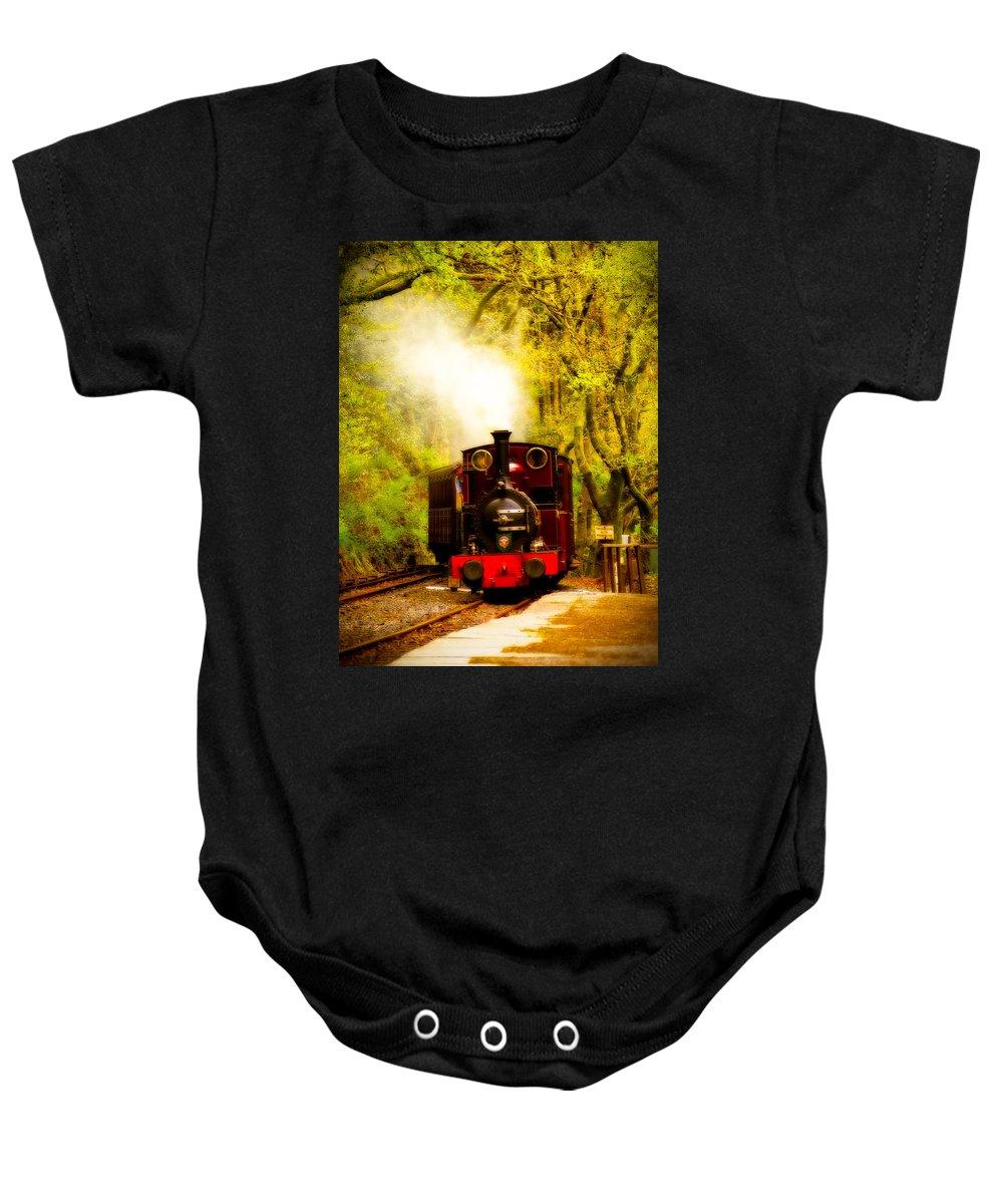 Abergynolwyn Baby Onesie featuring the photograph Talyllyn Railway 2 by Mark Llewellyn