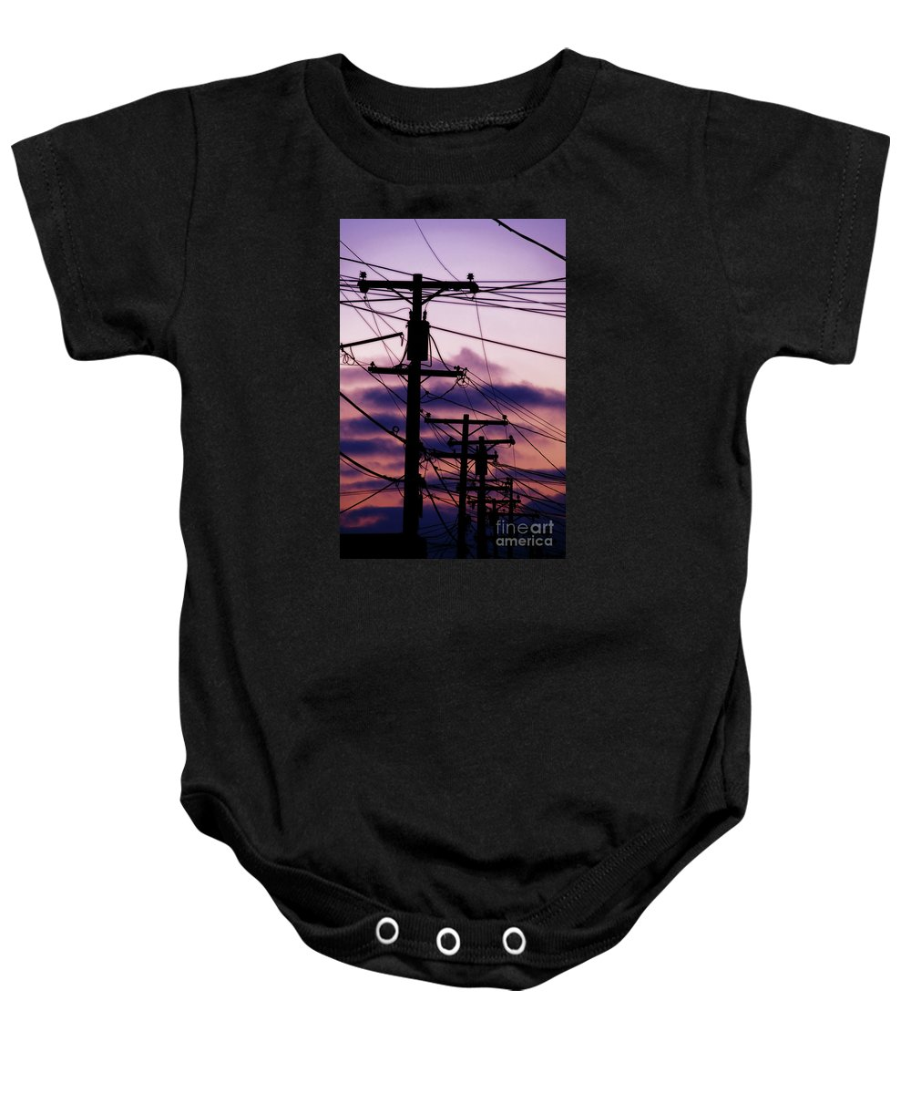 Lines Baby Onesie featuring the photograph Tangled Lines Of Communication by Linda Shafer