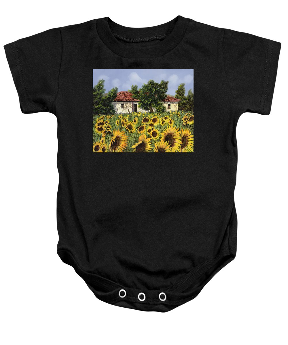 Tuscany Baby Onesie featuring the painting Tanti Girasoli Davanti by Guido Borelli