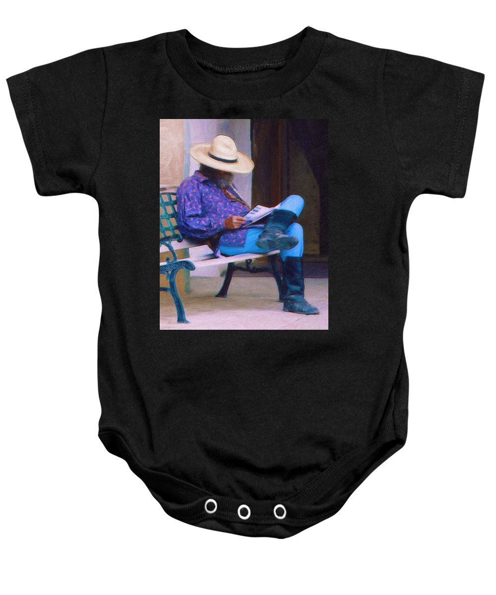 Taos Baby Onesie featuring the digital art Taos Down Time by Terry Fiala