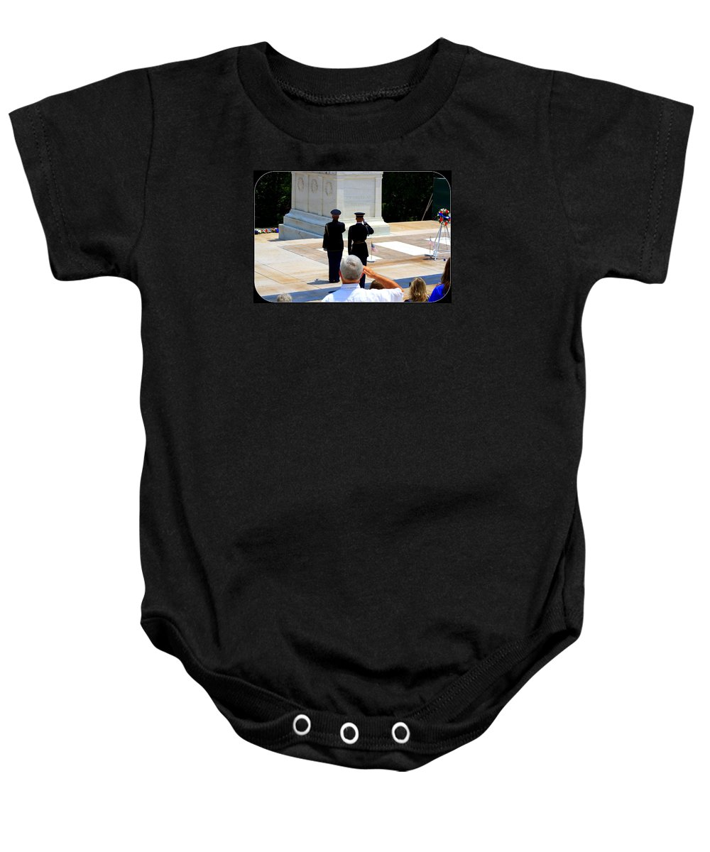 Taps At The Tomb Of The Unknown Baby Onesie featuring the photograph Taps At The Tomb Of The Unknown by Patti Whitten