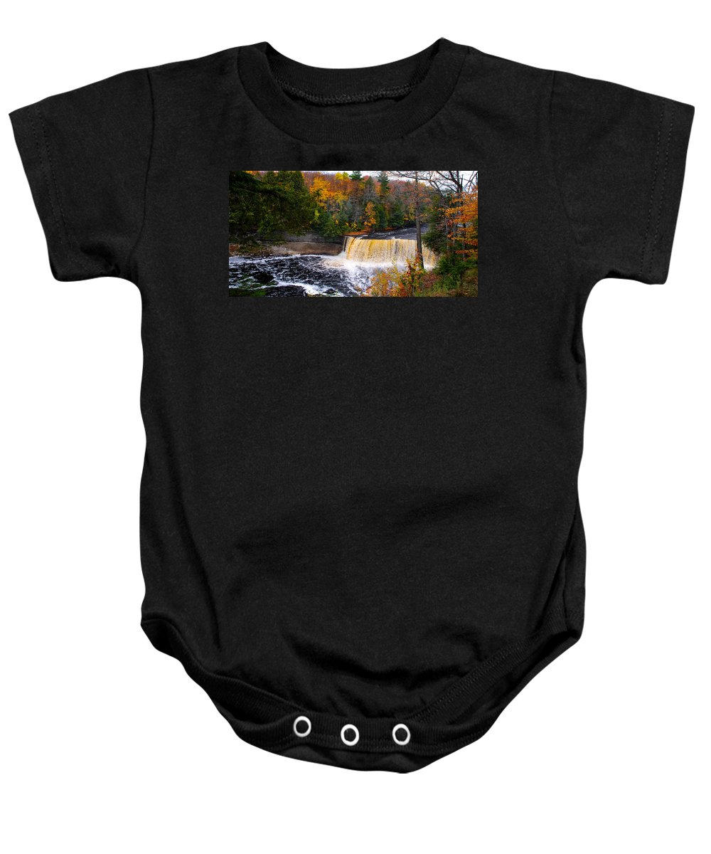 Optical Playground By Mp Ray Baby Onesie featuring the photograph Taquamenon Falls IIi by Optical Playground By MP Ray