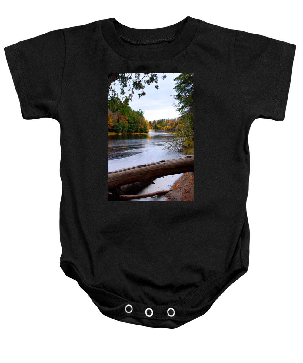 Optical Playground By Mp Ray Baby Onesie featuring the photograph Taquamenon River And Lower Falls by Optical Playground By MP Ray