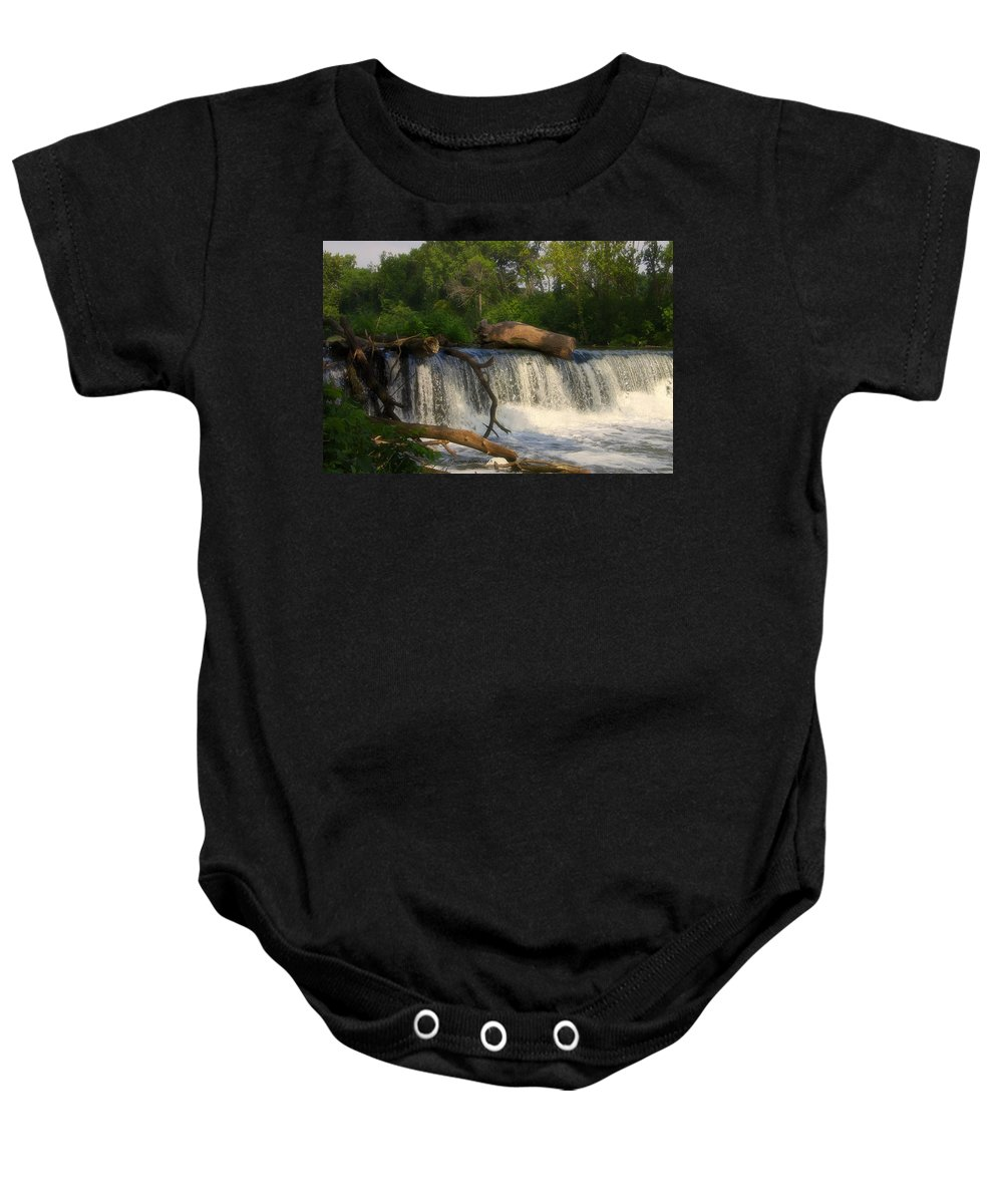 Marsh Baby Onesie featuring the photograph Teeter Totter Log by Thomas Woolworth