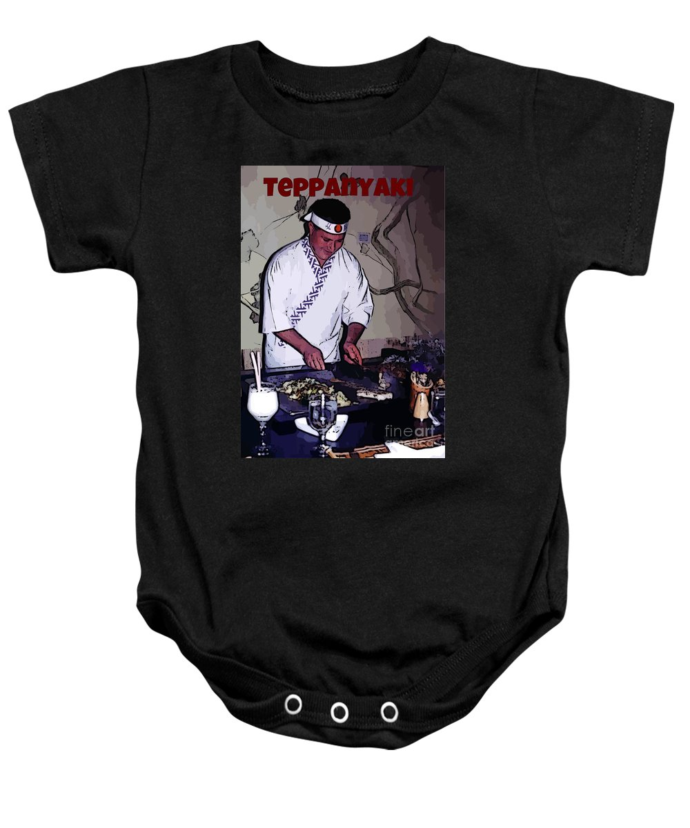 Teppanyaki Prints Baby Onesie featuring the photograph Teppanyaki Cooking by John Malone