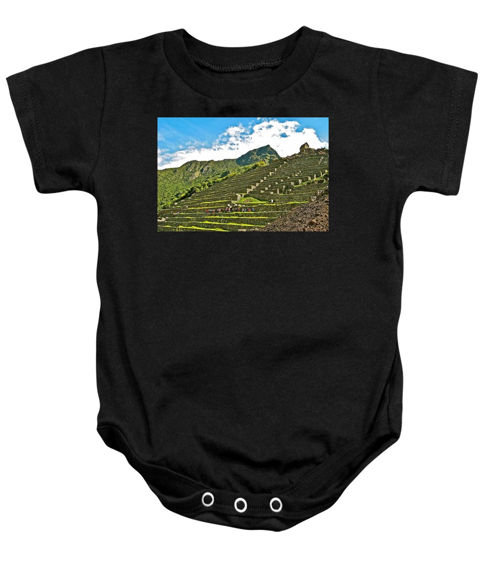 Terraces Of Machu Picchu Baby Onesie featuring the photograph Terraces Of Machu Picchu-peru by Ruth Hager