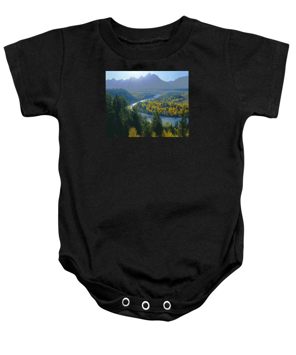 Snake River Overlook Baby Onesie featuring the photograph 2m9301-teton Range From Snake River Overlook by Ed Cooper Photography