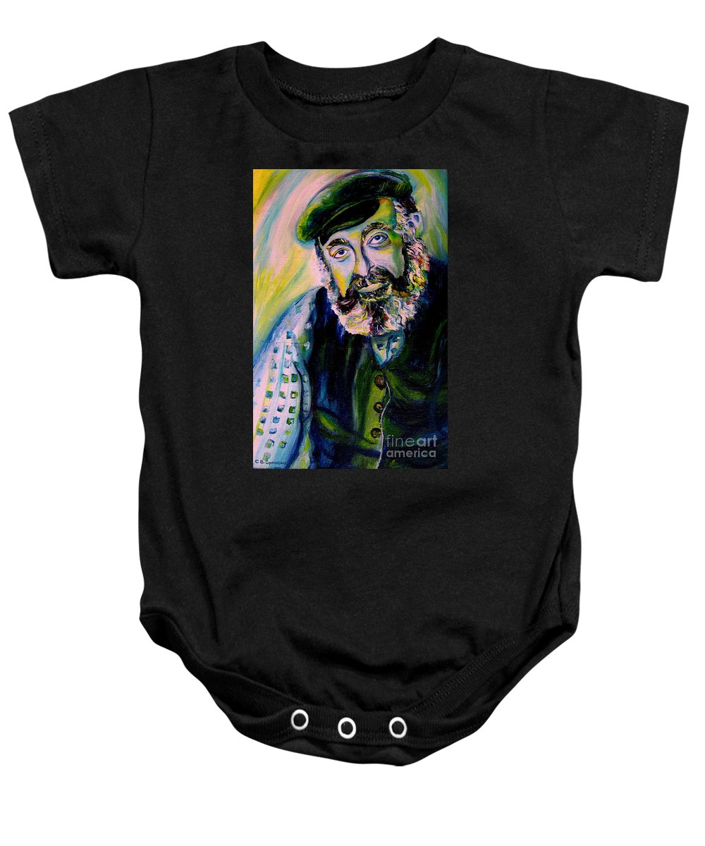 Tevye Fiddler On The Roof Baby Onesie featuring the painting Tevye Fiddler On The Roof by Carole Spandau
