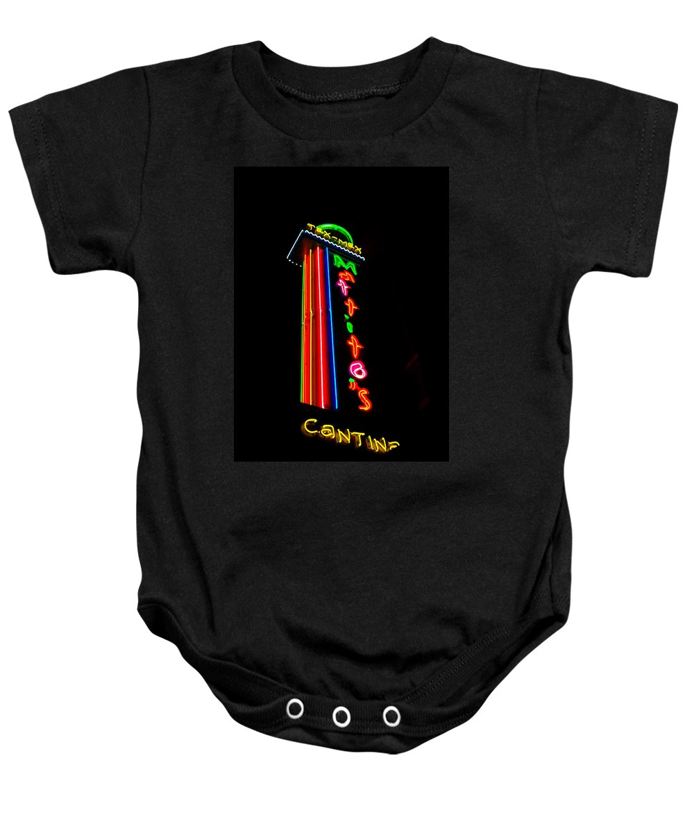 Cantina Neon Baby Onesie featuring the photograph Tex Mex Cantina Neon by Pamela Smale Williams