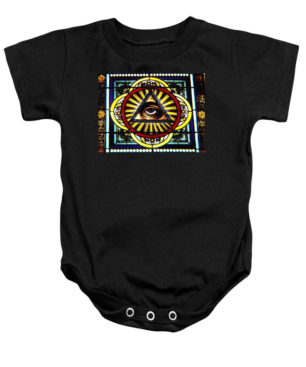 Window Baby Onesie featuring the photograph Eye Of Providence Texas Church Window by Chris Berry