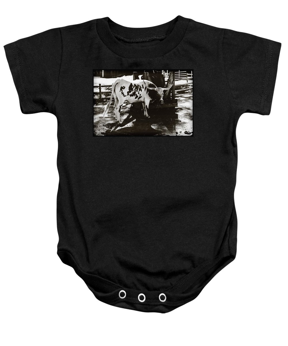 Texas Longhorn Baby Onesie featuring the photograph Texas Longhorn by Liane Wright