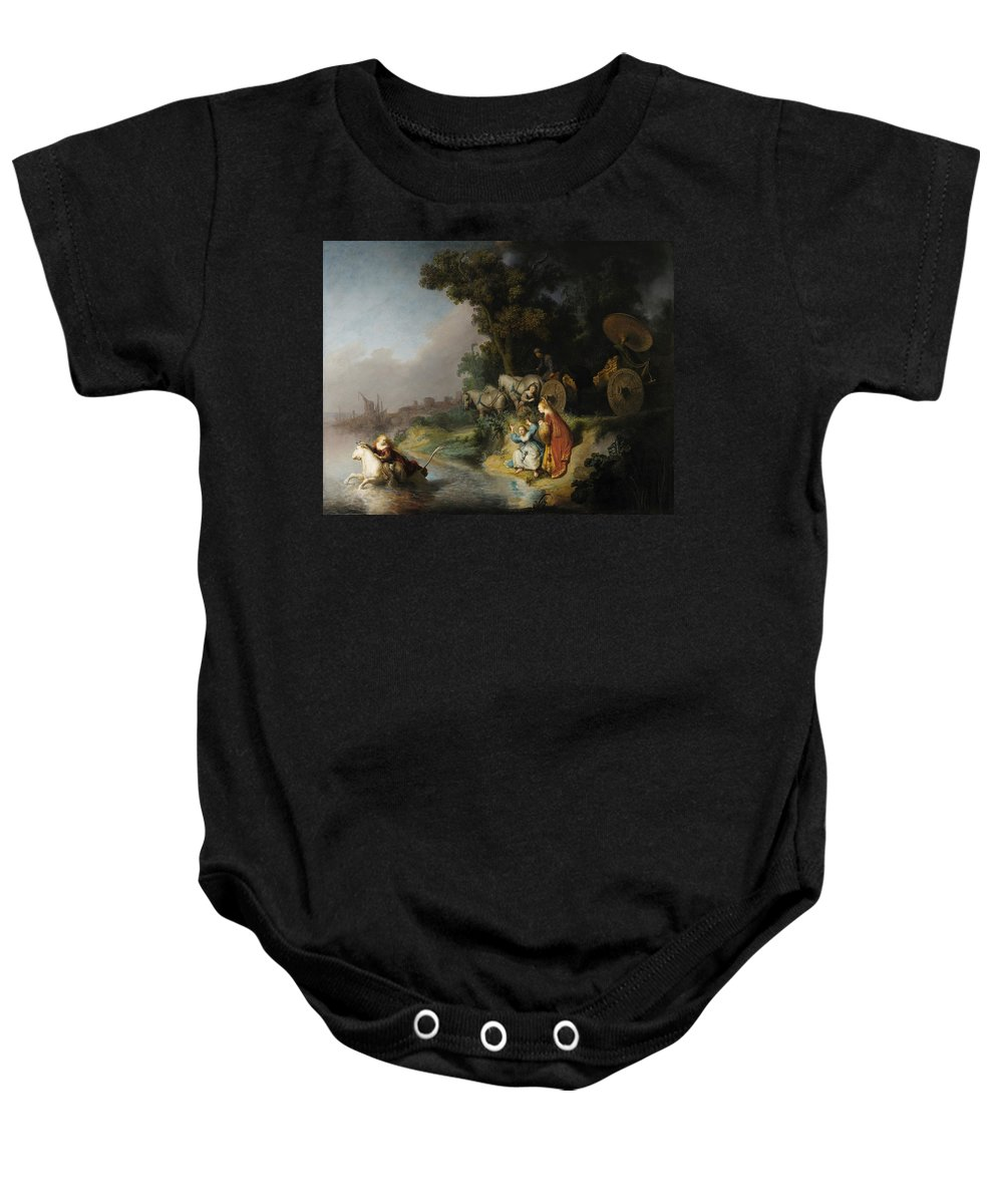 1632 Baby Onesie featuring the painting The Abduction Of Europa by Rembrandt van Rijn
