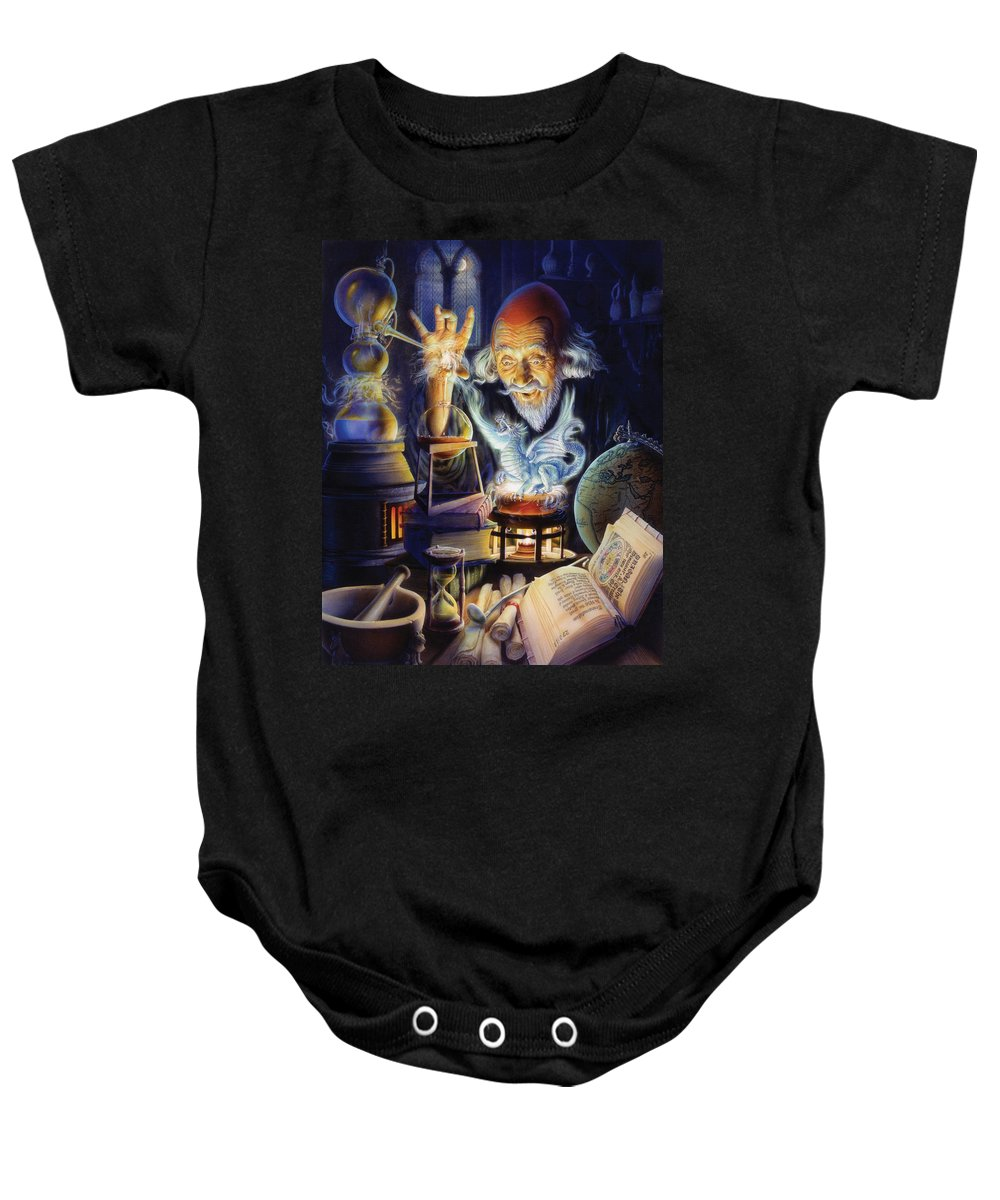 Wizard Baby Onesie featuring the photograph The Alchemist by Andrew Farley