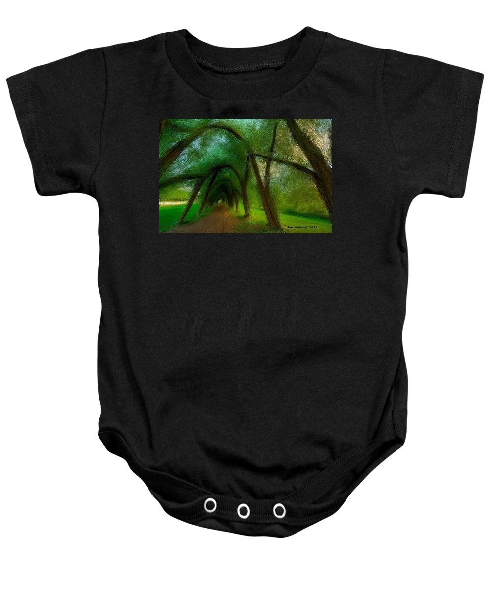 Tree Baby Onesie featuring the painting The Arch Of Heaven by Bruce Nutting