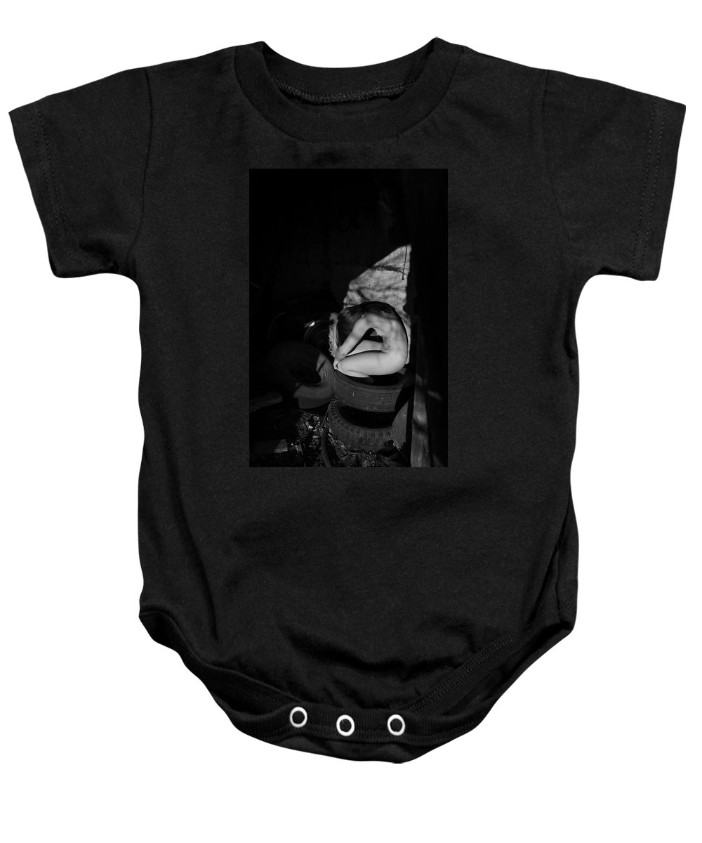 Blue Muse Fine Art Baby Onesie featuring the photograph The Auspicious Squalor Of The Human Butterfly by Blue Muse Fine Art
