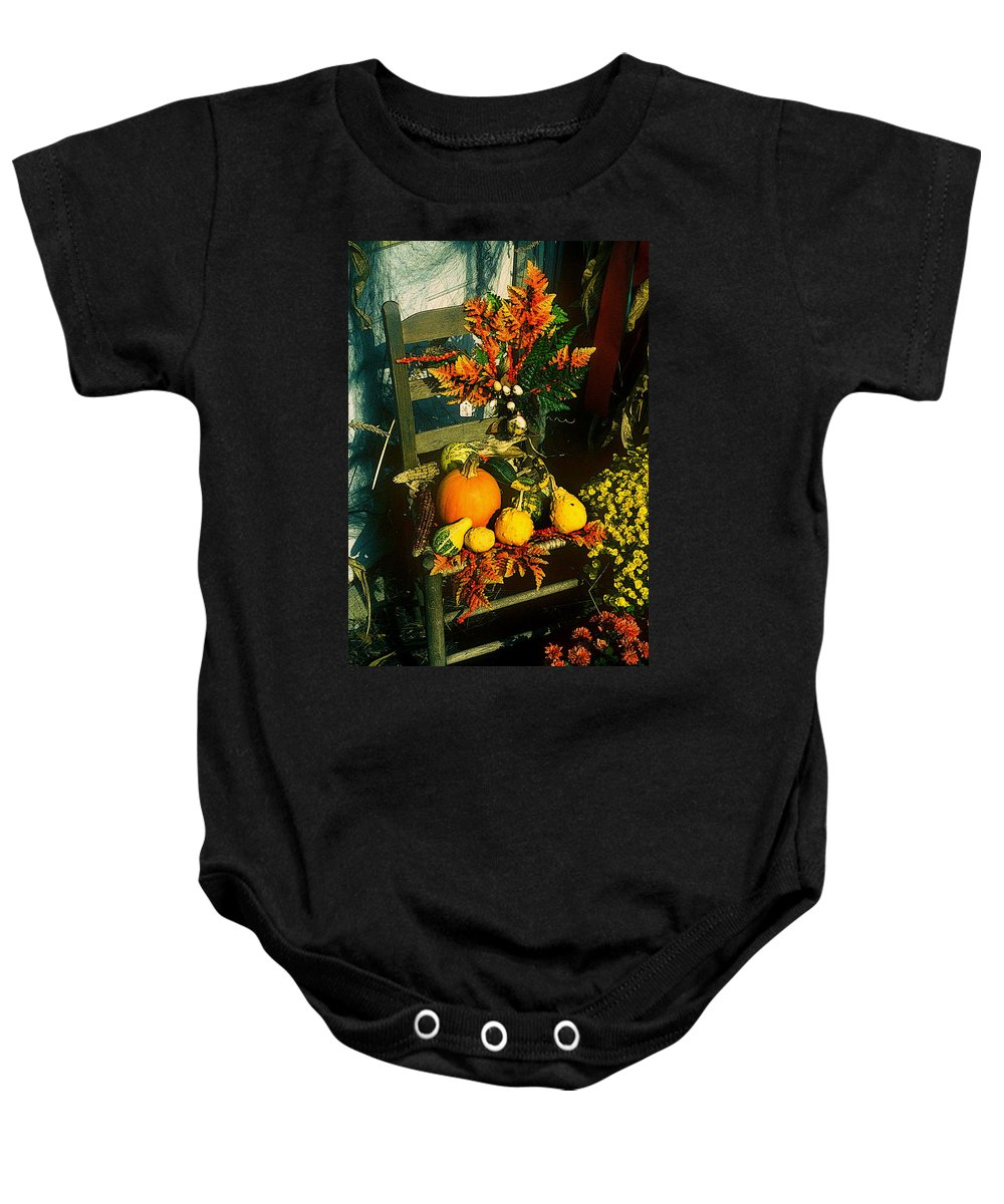 Fine Art Baby Onesie featuring the photograph The Autumn Chair by Rodney Lee Williams