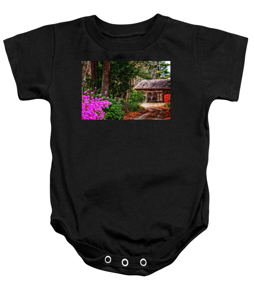 Green Baby Onesie featuring the photograph The Barn In Spring by Tricia Marchlik