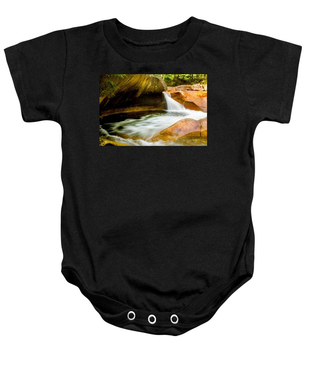 Crawford Notch Baby Onesie featuring the photograph The Basin by Greg Fortier