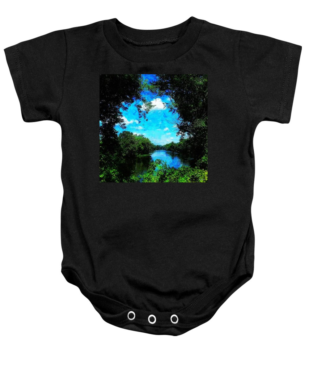 Bristol Baby Onesie featuring the painting The Bend At Bristol by Sandy MacGowan