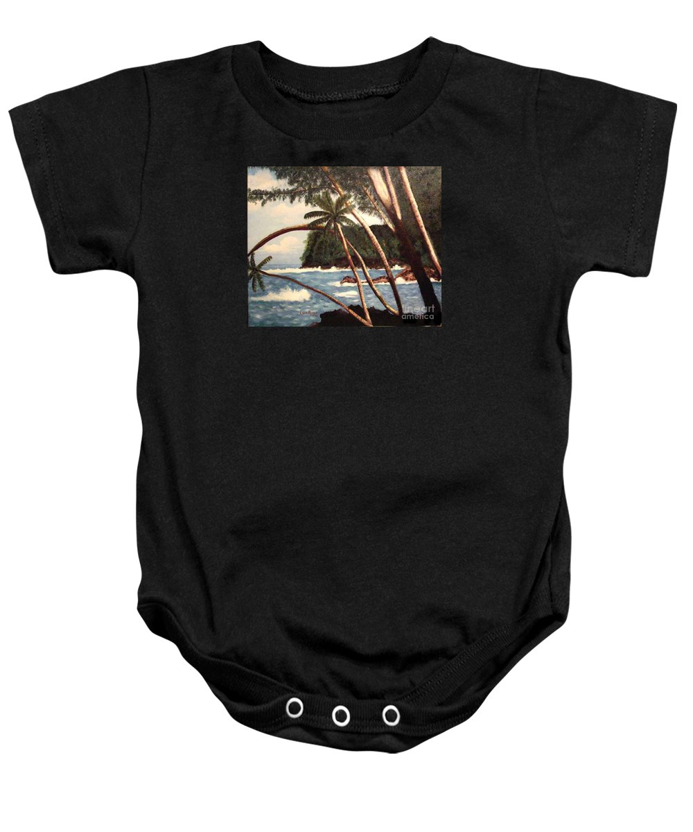 Hawaii Baby Onesie featuring the painting The Big Island by Laurie Morgan