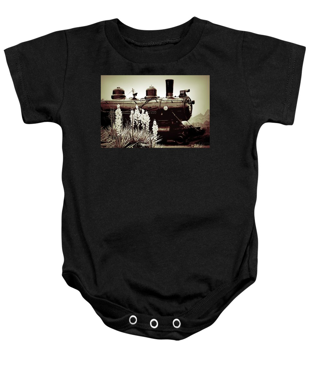 Old Train Baby Onesie featuring the photograph The Black Steam Engine by Bonnie Willis