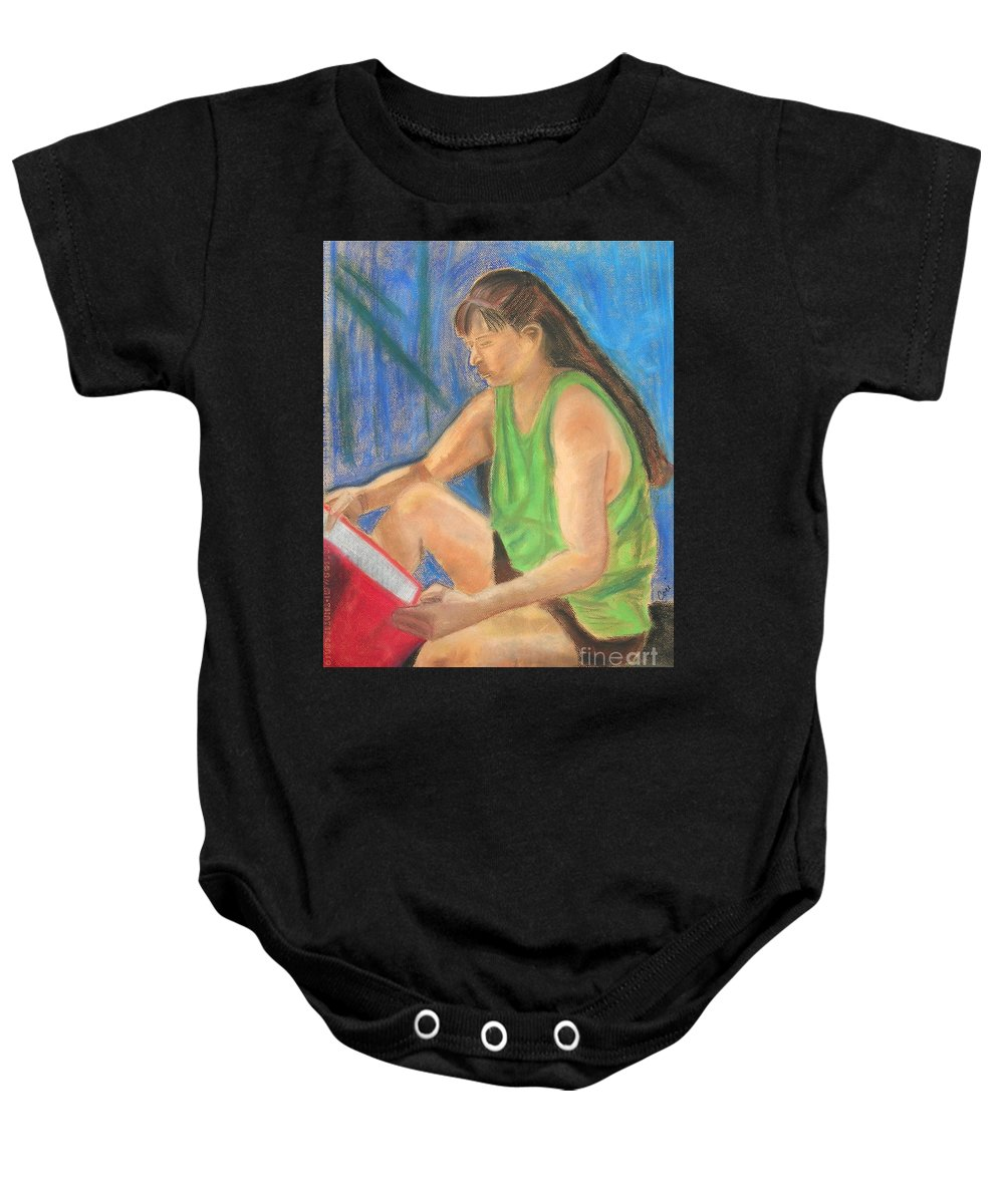 Girl Baby Onesie featuring the pastel The Book Worm by Cori Solomon