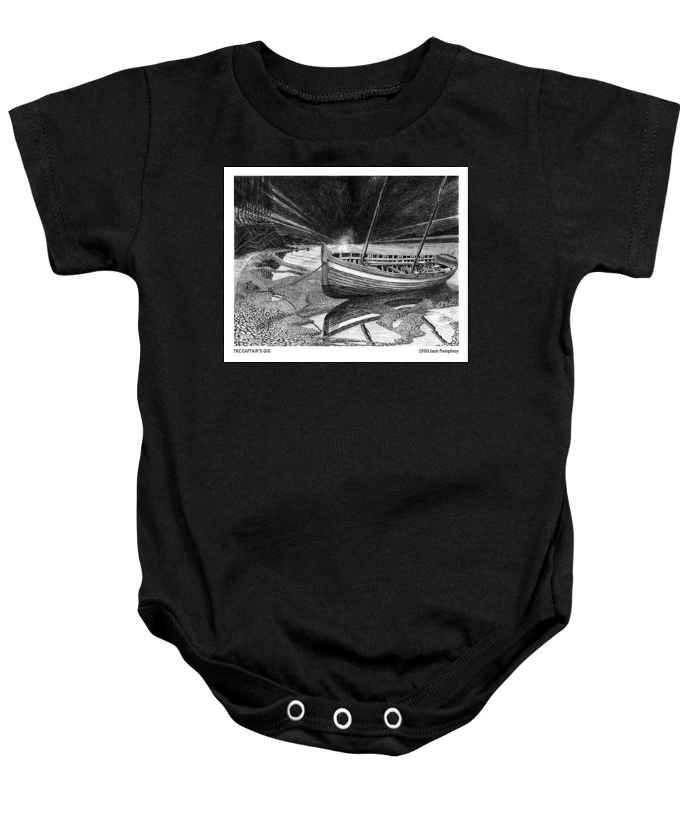 Artwork Of Yachts Baby Onesie featuring the drawing Captain Vancouvers Gig by Jack Pumphrey