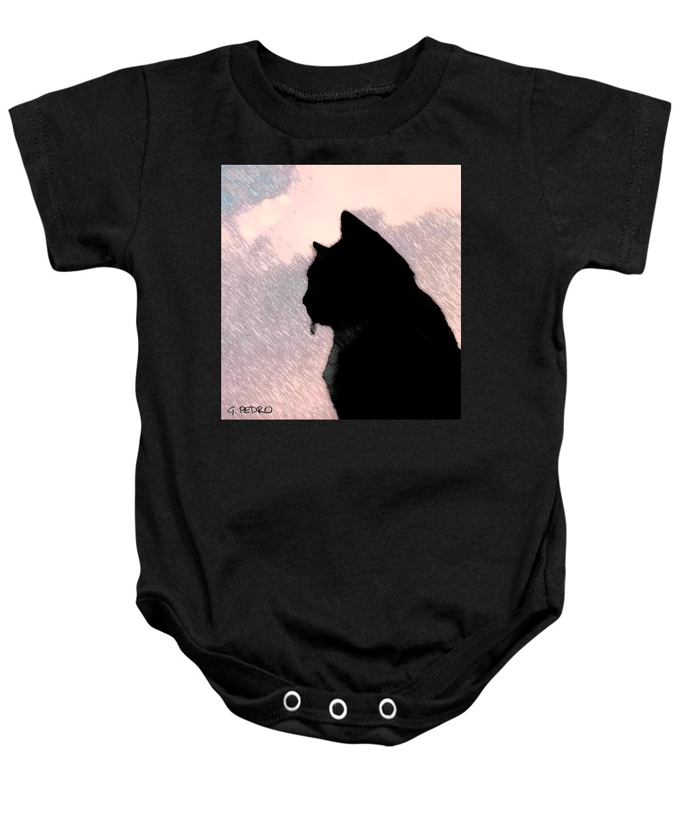 Cat Baby Onesie featuring the painting the Cat by George Pedro