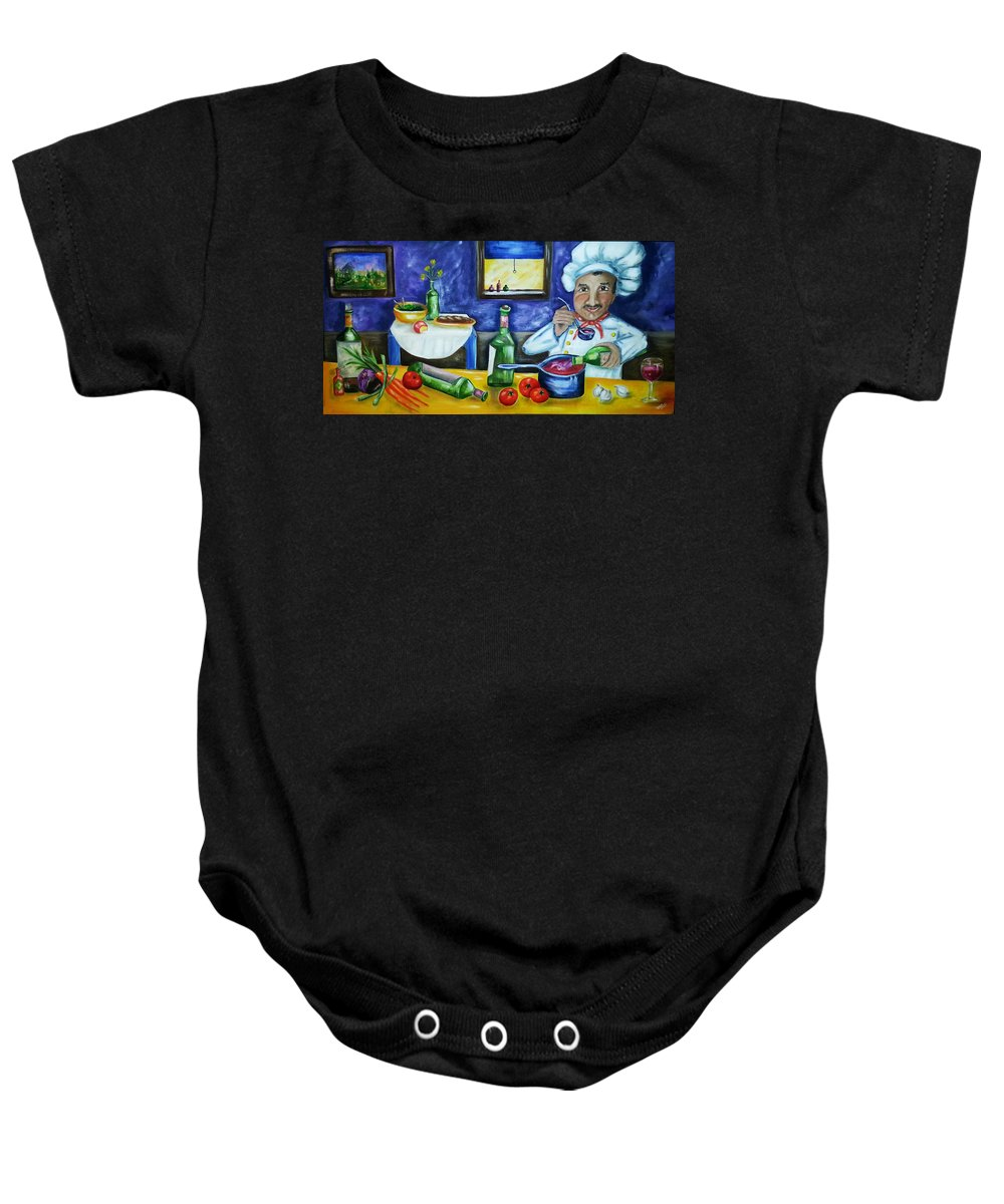 Chef Baby Onesie featuring the painting The Chef by Diana Haronis