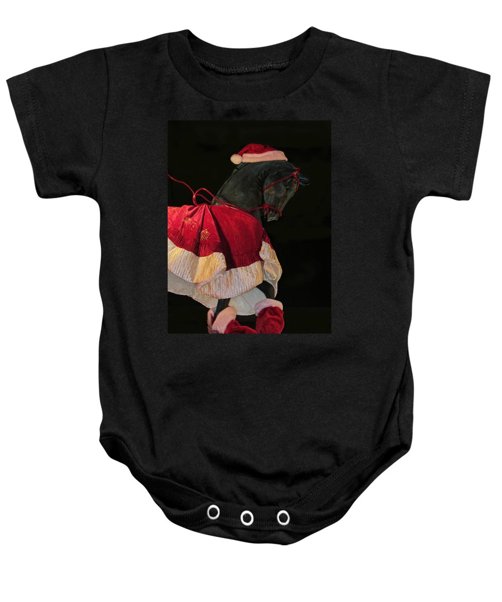Horse Baby Onesie featuring the photograph The Christmas Horse by Kathy Clark