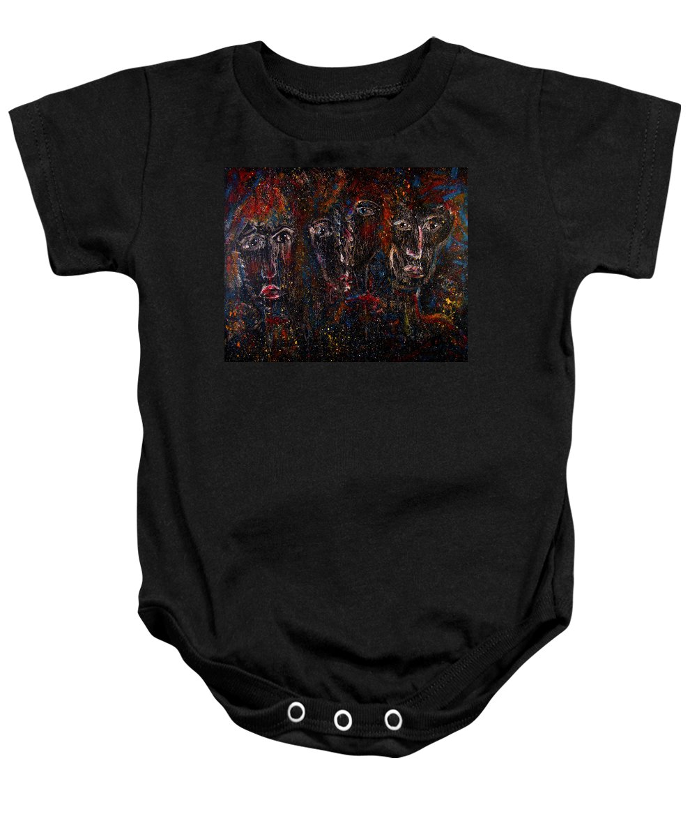 Expressionism Baby Onesie featuring the painting The Committee by Natalie Holland