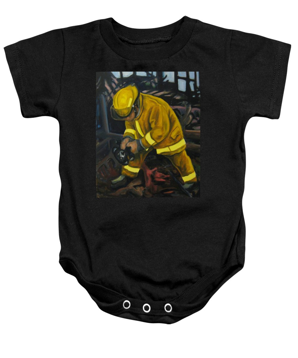 The Compulsion Towards Heroism Baby Onesie featuring the painting The Compulsion Towards Heroism by John Malone