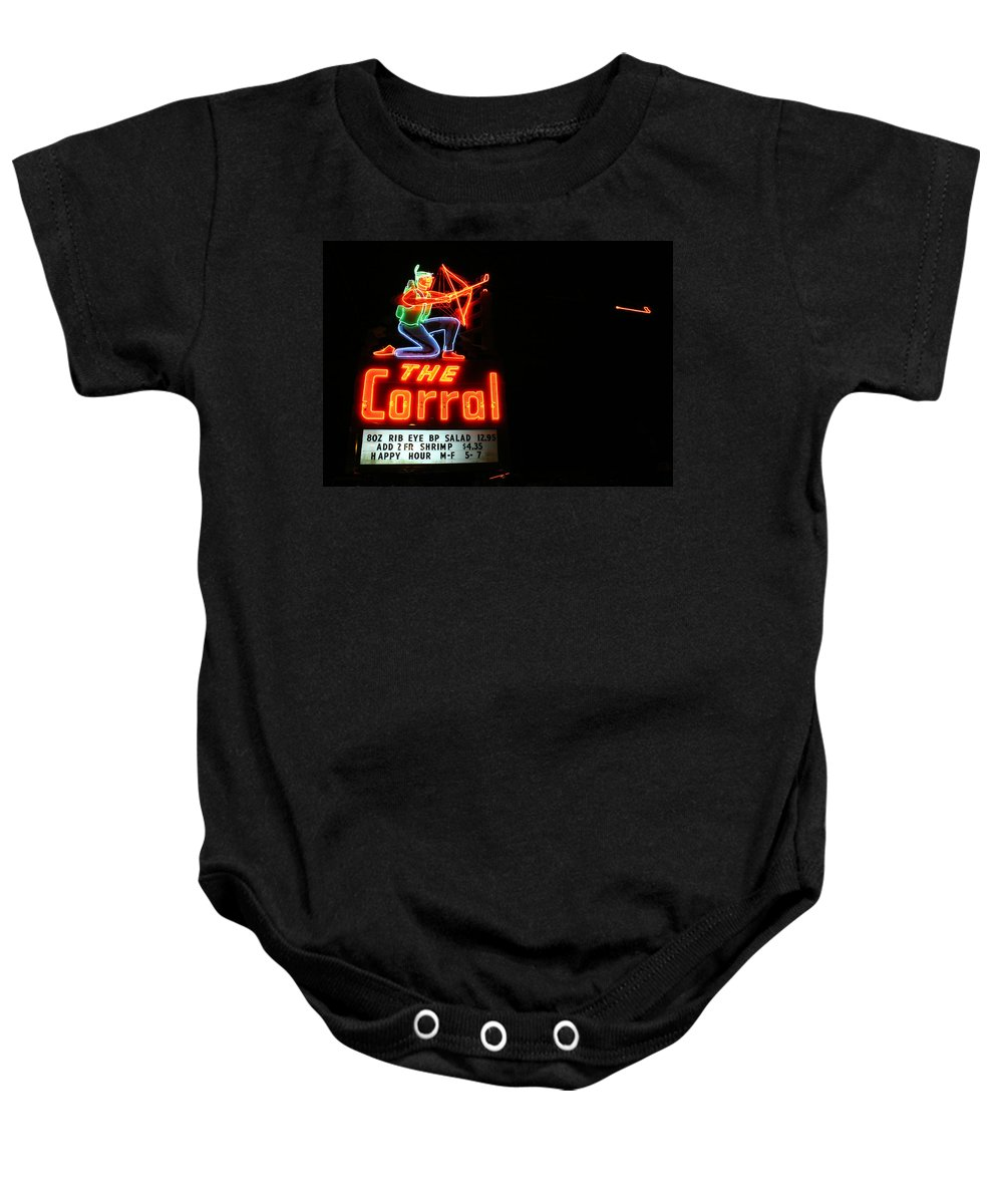Neon Baby Onesie featuring the photograph The Corral by Jeff Mize