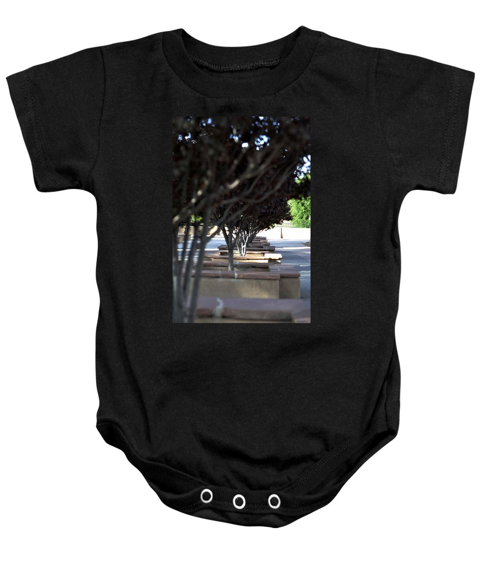 Trees Baby Onesie featuring the photograph The Courtyard by Pam Romjue
