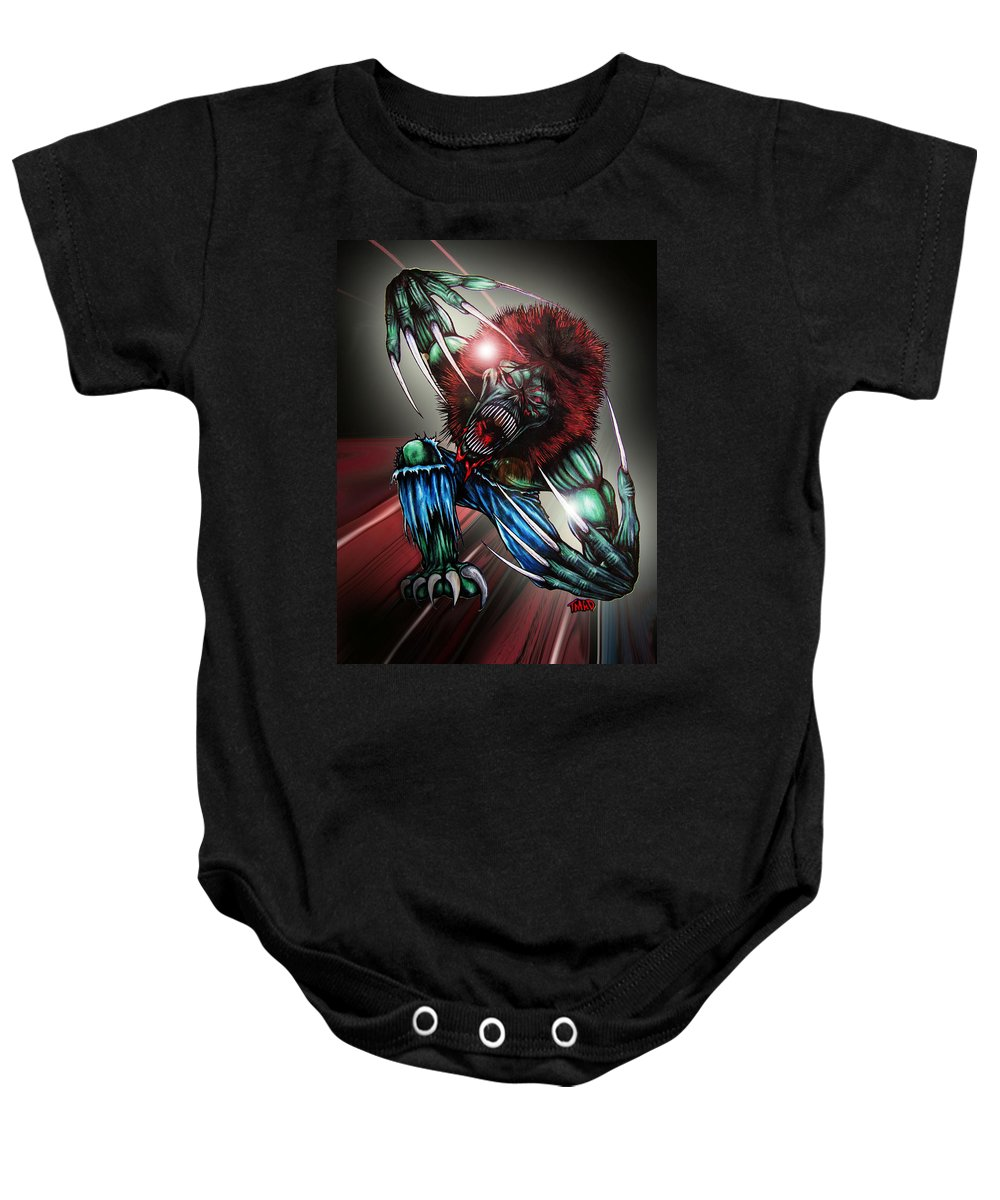 The Creeper Baby Onesie featuring the digital art The Creeper by Michael TMAD Finney and Ben Van Rooyen