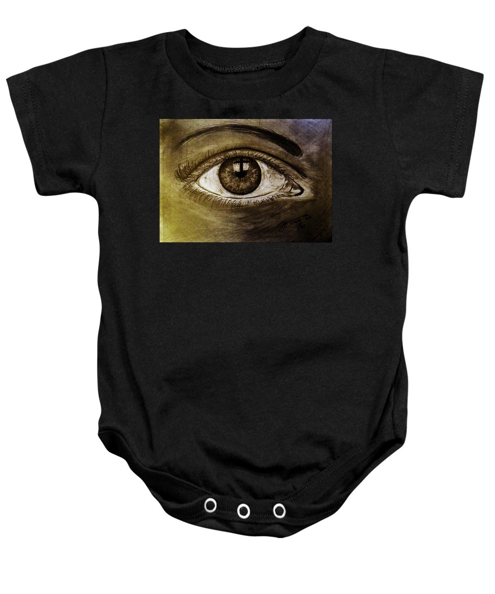 The Cross Eye Baby Onesie featuring the drawing The Cross Eye by Jose A Gonzalez Jr